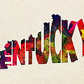 Kentucky Typographic Watercolor Map by Inspirowl Design