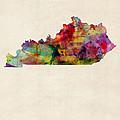 Kentucky Watercolor Map by Michael Tompsett