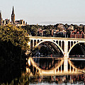 Key Bridge And Georgetown University Washington Dc by Bill Cannon