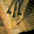 Keys And Quill On Old Papers by Jill Battaglia