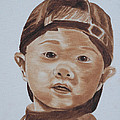Kids In Hats - Young Baseball Fan by Kathie Camara