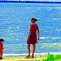 Kids Playing On The Seashore Mom And Little Boys Pointe Claire Montreal Waterscene Carole Spandau by Carole Spandau