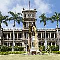 King Kamehameha In Leis by Brandon Tabiolo