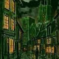 Kirkgate And Bridlington Priory By Moonlight by Glenn Marshall