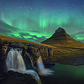Kirkjufell Night Landscape With by Coolbiere Photograph