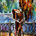 Kiss After The Rain - Palette Knife Oil Painting On Canvas By Leonid Afremov by Leonid Afremov