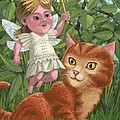 Kitten With Girl Fairy In Garden by Martin Davey