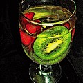 Kiwi And Grapes In  Wine Glass  by Rick Todaro