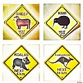 Kiwi Aussi Road Signs by Helge