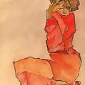 Kneeling Female In Orange-red Dress by Mountain Dreams