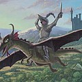 Knight Riding On Flying Dragon by Martin Davey
