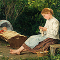 Knitting Girl Watching The Toddler In A Craddle by Albert Anker