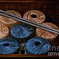Knitting Yarn In A Wooden Box by Les Palenik