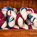 Knitting Yarn In Patriotic Colors by Les Palenik