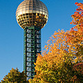 Knoxville Sunsphere In Autumn by Melinda Fawver