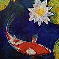 Kohaku Koi And Water Lily by Michael Creese