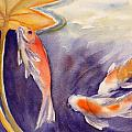 Koi In A Lily Pond 11 by Janet Zeh