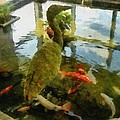 Koi Pond With Mossy Heron by Michelle Calkins