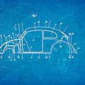 Komenda Vw Beetle Body Design Patent Art 1944 Blueprint by Ian Monk