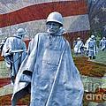 Korean War Veterans Memorial Bronze Sculpture American Flag by David Zanzinger