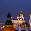 Kremlin Cathedrals At Night - Featured 3 by Alexander Senin