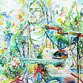Kurt Cobain Playing The Guitar - Watercolor Portrait by Fabrizio Cassetta