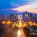 La Defense And Champs Elysees At Sunset In Paris France by Michal Bednarek