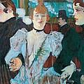 La Goulue Arriving At Moulin Rouge With Two Women by Henri de Toulouse Lautrec
