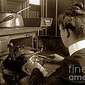 Lady In Early Kitchen Cooking Turkey Dinner 1900 by California Views Archives Mr Pat Hathaway Archives