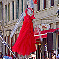 Lady In Red Watching Filming Of Today Show In Old Montreal-qc by Ruth Hager