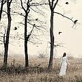 Lady In White In Autumn Landscape by Jill Battaglia