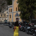 Lady In Yellow By The Church Of San Francesco Maiori Italy by Dan Hartford