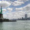 Lady Liberty And New York Twin Towers by Tap On Photo