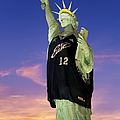 Lady Liberty Dressed Up For The Nba All Star Game by Susan Candelario