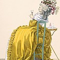 Lady Reclines On Chair Drinking by Francois Louis Joseph Watteau