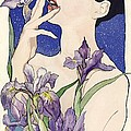 Lady With Blue Irises by Alfred Ng