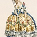 Ladys Elaborate Ball Gown, Engraved by Augustin de Saint-Aubin