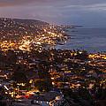 Laguna Beach City At Night by Cliff Wassmann