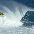 Laird Hamilton Going Left At Jaws by Bob Christopher
