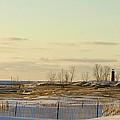 Lake Michigan Lighthouse Muskegon Michigan In Winter by Rosemarie E Seppala
