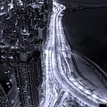 Lake Shore Drive Aerial  B And  W by Steve Gadomski