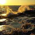 Lake Superior Winter Sunset by James Peterson