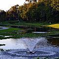Lake With Fountain by Rachid  Hatni