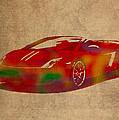 Lamborghini Gallardo 2013 Classic Sports Car Watercolor On Worn Distressed Canvas by Design Turnpike