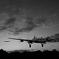 Lancasters Taking Off At Sunset Bw by Gary Eason