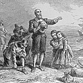 Landing Of The Pilgrims, 1620, Engraved By A. Bollett, From Harpers Monthly, 1857 Engraving B&w by Felix Octavius Carr Darley