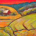 Landscape Art Orange Sky Farm by Blenda Studio