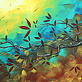 Landscape Bird Original Painting Family Time By Madart by Megan Duncanson