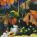 Landscape In Tahiti.mahana Maa by Paul Gauguin
