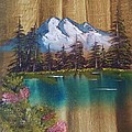 Landscape On Old Barn Siding by Lee Bowman